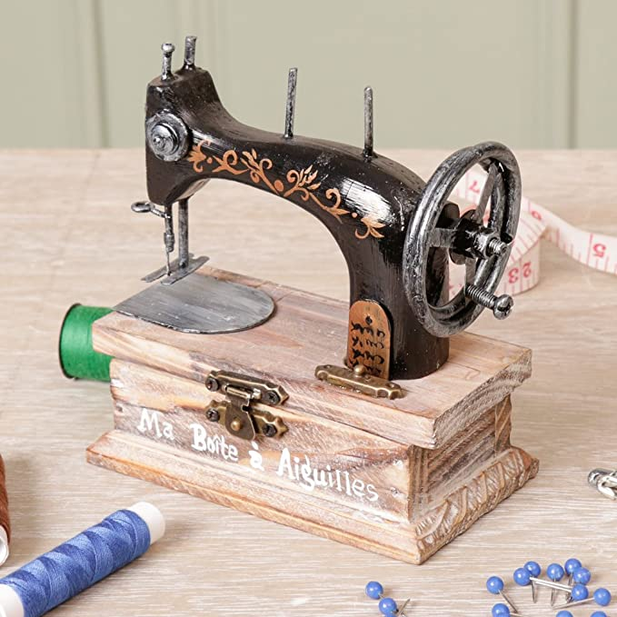 Vintage cantante máquina de coser caja para botones, agujas y hilo 11 cm x 5,8 x 10,5.: Amazon.es: Bricolaje y herramientas