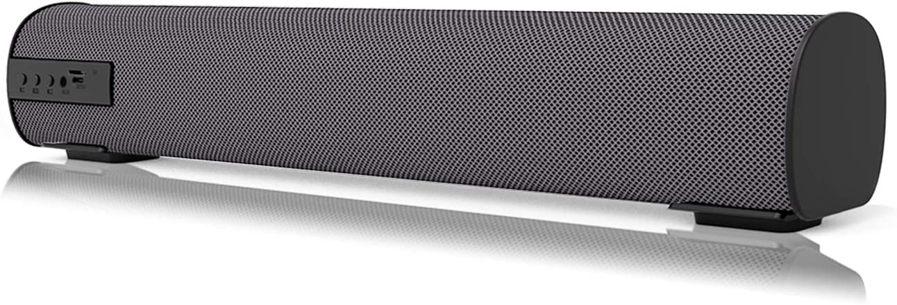 Bluetooth Sound Bar 15.7 Inches Portable Wireless Speakers for Home Theater Surround Sound with Built-in Subwoofers for TV/PC/Phones/Tablets with Remote Control (Gray)