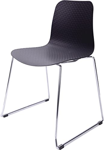 CozyBlock Hebe Series Black Dining Shell Side Chair Molded Plastic Steel Wire Metal Leg
