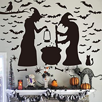 2 Two WHITE Spooky Ghost Silhouette Halloween Vinyl Decal Car Window Stickers