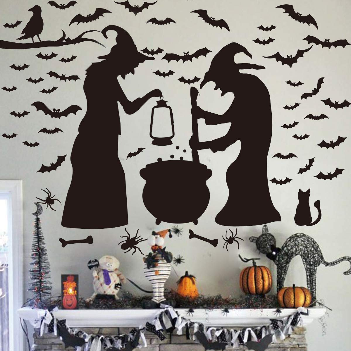 Ivenf Halloween Decorations, Wall Decal Window Decor Party Supplies, 2 Witches with Bats Spider Cat and Crow by Ivenf