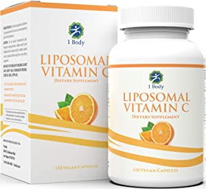Liposomal Vitamin C Capsules 1200mg – Collagen Support, Powerful Antioxidant Boost, High Dose & High Absorption VIT C Ascorbic Acid Pills – 60 Servings – Easy to Swallow Capsules