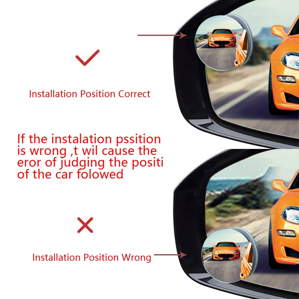 Blind Spot Mirrors,2 Pack Convex Mirror 360 Round Frameless Rotate Sway View Parking Mirror Adjustable Stick On Rear View Parking Mirror for All Cars Silver