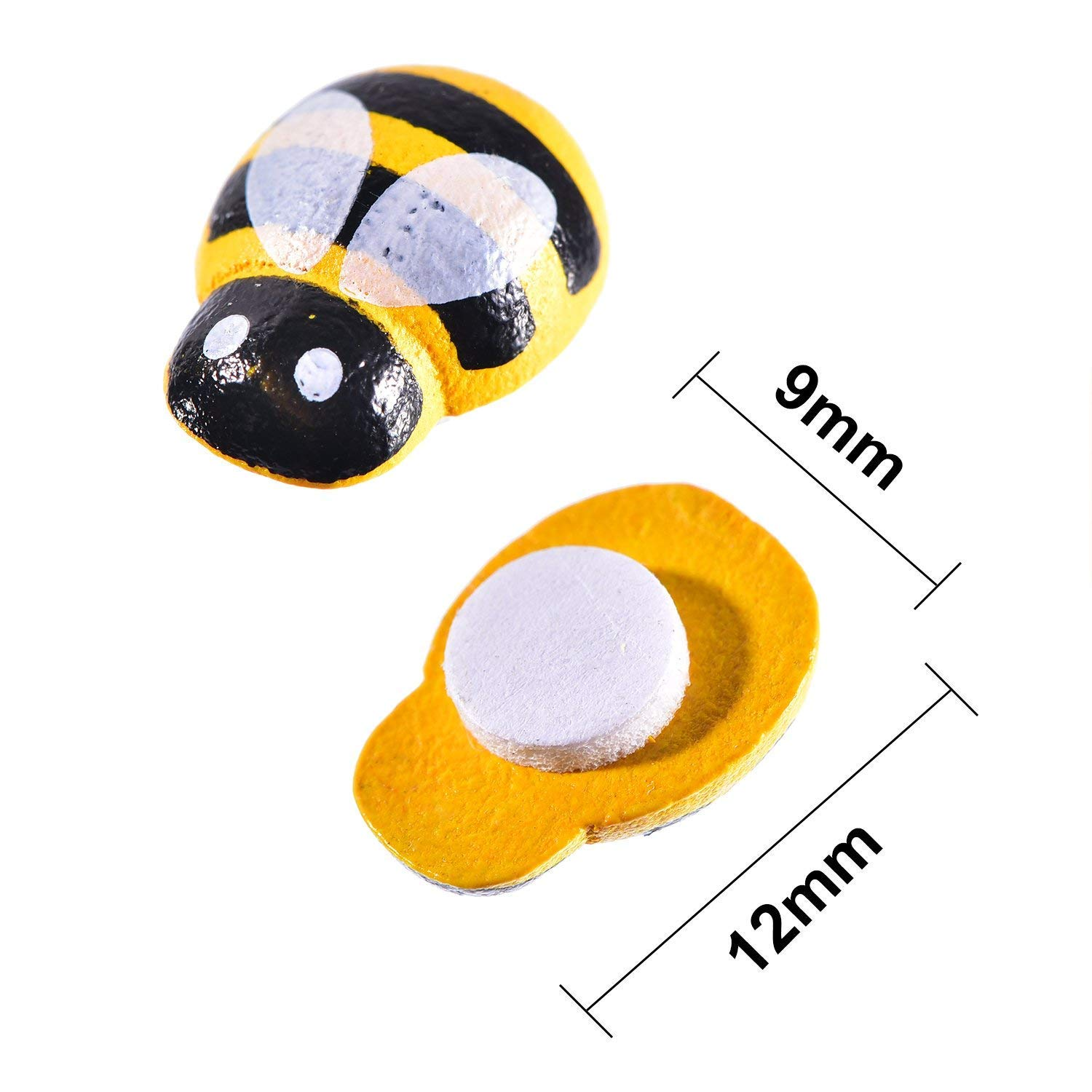 200 PCS Tiny Wooden Bee Embellishments Painted Flatback Wood Bumble Bee Pieces with Adhesive and Velvet Bag for Craft Scrapbooking DIY Decor