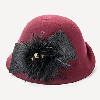Cloche Hat Dressy Hat for Women Ragazza Lady Vintage Nero Inverno Lana Derby Church Party Bombetta