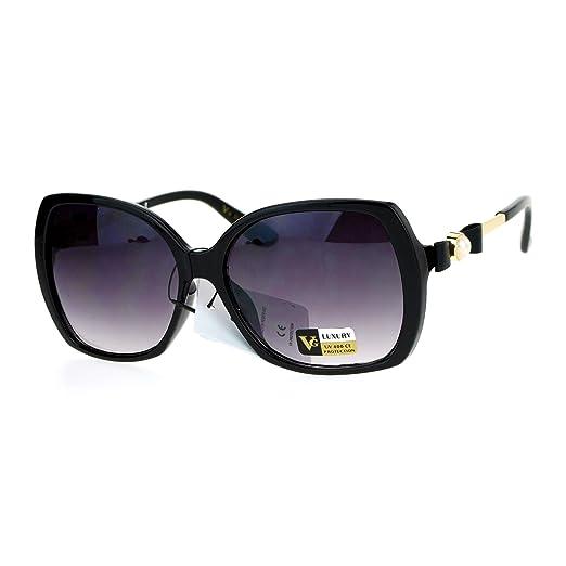 59d6a12998c7 Bow Pearl Jewel Arm Diva Designer Butterfly Womens Sunglasses Black