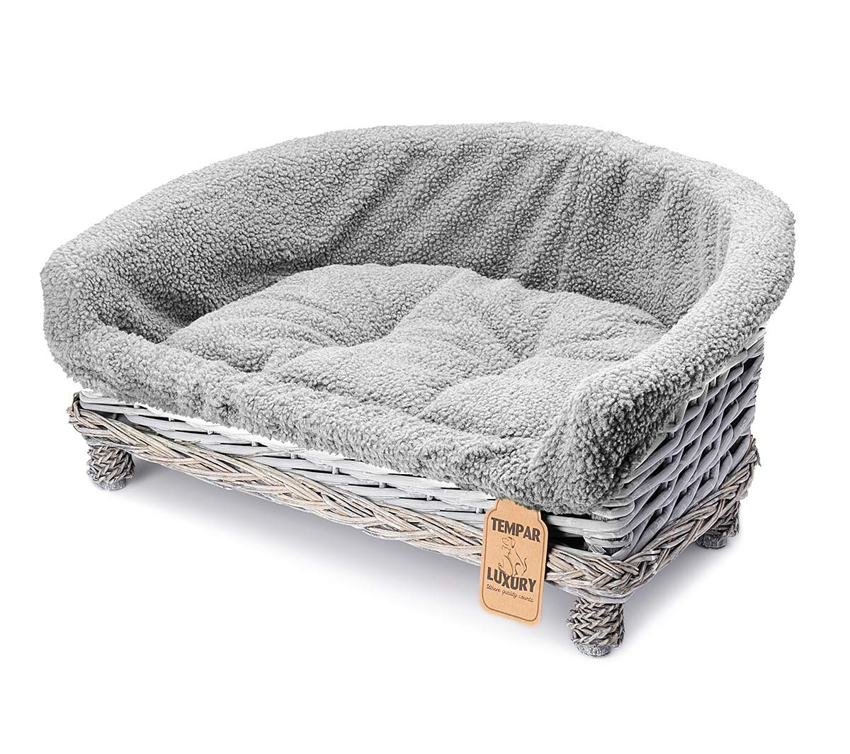 Strange Tempar Luxury Handmade Half Moon Wicker Pet Cat Dog Sofa Couch Cushion Blanket Beds Free Replacement Cushion And Cover Large Grey Andrewgaddart Wooden Chair Designs For Living Room Andrewgaddartcom