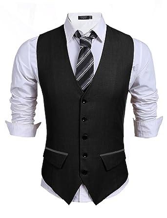 COOFANDY Men\'s Business Suit Vest, Slim Fit Skinny Wedding Waistcoat ...