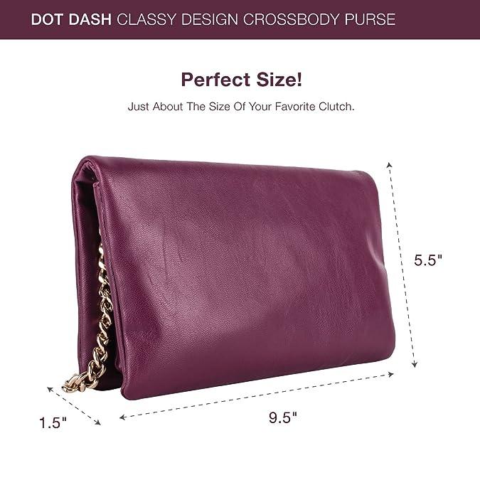 44a4cbc53ca5 Dot Dash Grey or Burgundy Clutch Purse with Crossbody Shoulder Strap   Handbags  Amazon.com