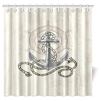 InterestPrint Nautical Decor Shower Curtain Old Anchor And Helm With Rope Sea Ocean Life Coast