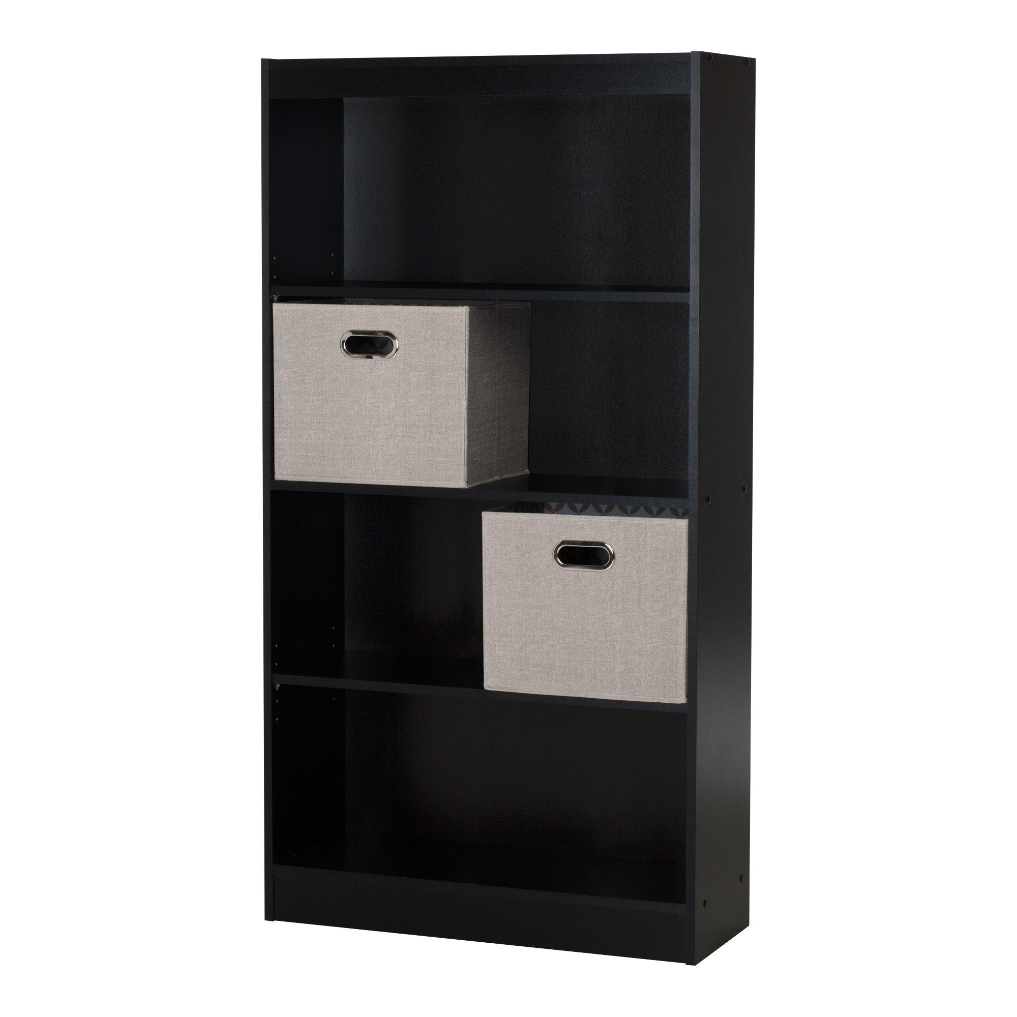 South Shore Axess 4-Shelf Bookcase 2 Fabric Storage Baskets, Pure Black