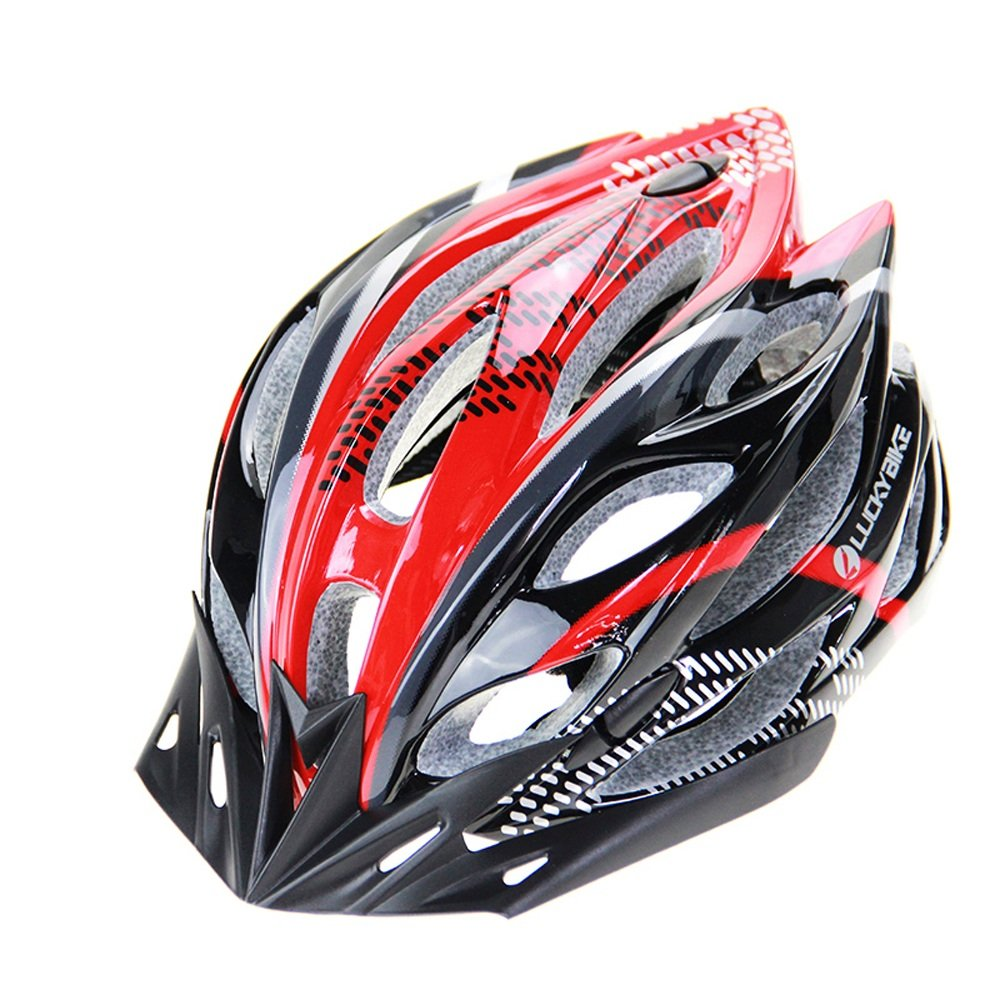Ultra Ligero Peso -Eco-Friendly Super Light Integrally Bike Helmet, Ajustable Ligero Mountain Road Bike Cascos para hombres y mujeres ( Color : Red and black ) Zide