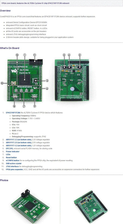 Waveshare CoreEP4CE10 EP4CE10 EP4CE10F17C8N ALTERA FPGA Cyclone IV Development Board Full I//O Expander JTAG Interface
