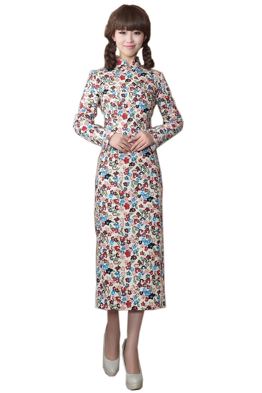 YueLian Frauen Damen Herbst Chinesische Qipao Kleid mit Langärmel:  Amazon.de: Bekleidung