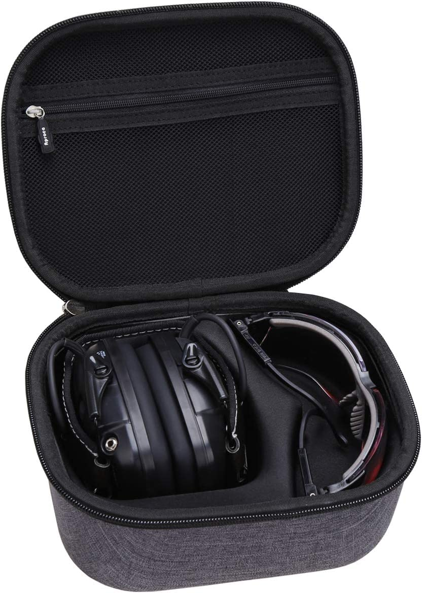 Aproca Hard Travel Case Compatible Howard Leight by Honeywell Impact Sport Sound Amplification Electronic Shooting Earmuff and Genesis Sharp-Shooter Safety Eyewear Glasses(gray)