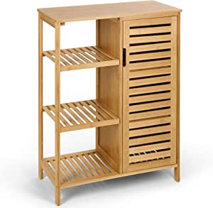 HYNAWIN Bamboo Bathroom Storage Cabinet, 3 Tier Shelves with Door, Free Standing Storage Cabinet Furniture, Bamboo Floor Cabinet Multifunctional Use for Bathroom, Living Room, Bedroom, Kitchen