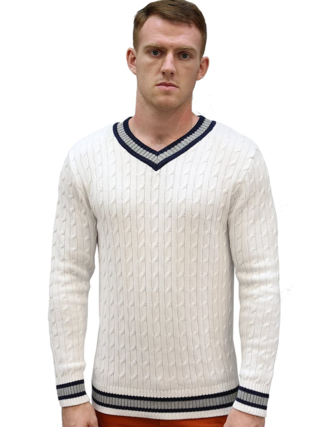 Edwardian Men's Shirts & Sweaters Allegra K Men V Neck Cable Pattern Ribbed Long Sleeves Pullover Knitted Sweater $32.85 AT vintagedancer.com