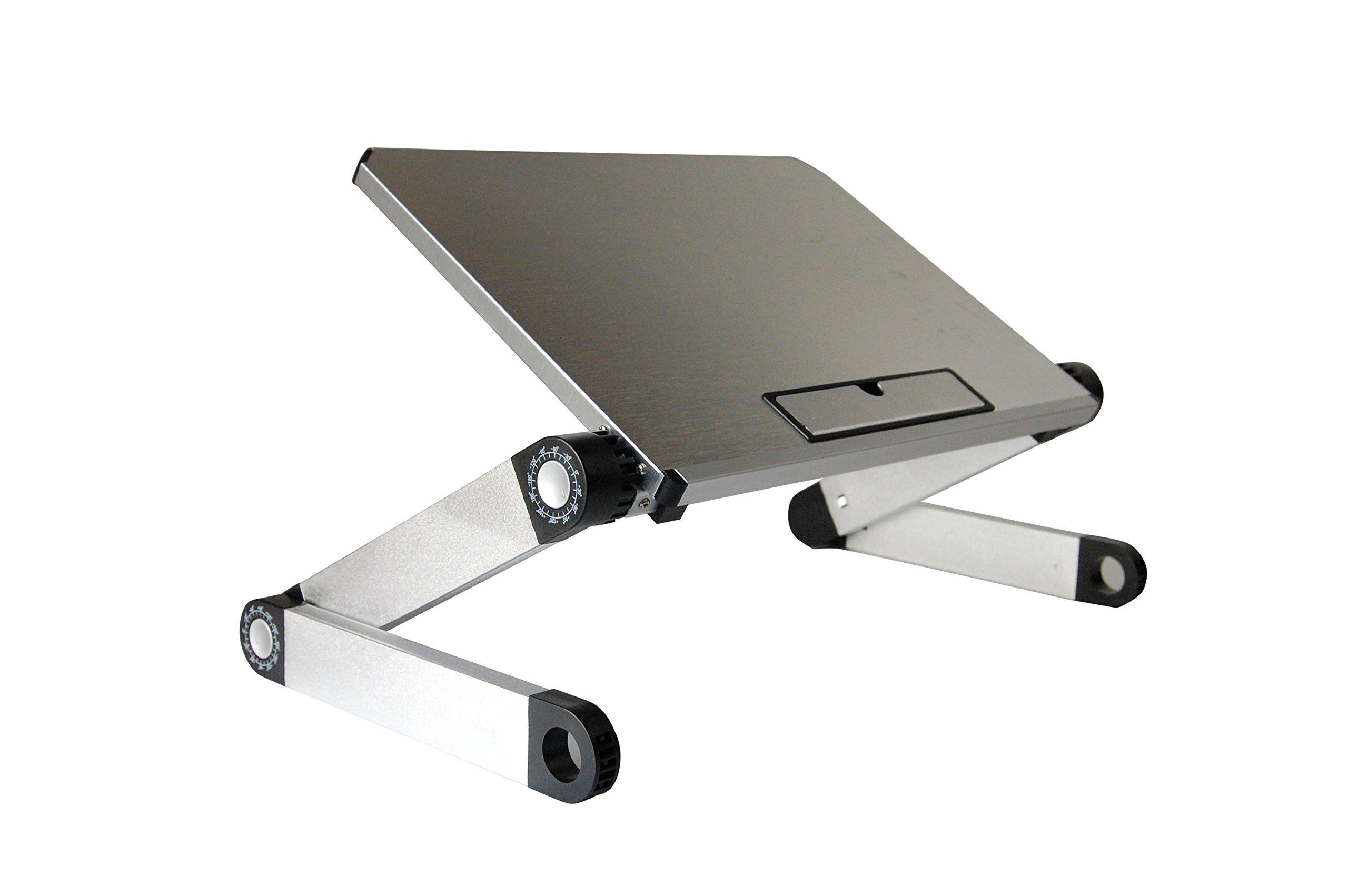 WorkEZ Light Ergonomic Portable Lightweight Aluminum Laptop Cooling Stand. Folding Adjustable Height & Angle Notebook Computer Riser Cooler Lap Desk by Uncaged Ergonomics