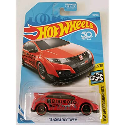 Hot Wheels 2020 HW Speed Graphics '16 Honda Civic Type R 126/365, Red: Toys & Games