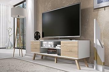 Vero Wood – Mueble TV Moderno / Mesa para TV (150 cm, Blanco ...