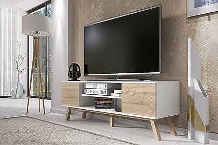 Porta Tv Bianco Opaco.Vero Wood Mobile Porta Tv Mobiletto Porta Tv Moderno 150 Cm Bianco Opaco Pannelli Frontali In Quercia Sonoma