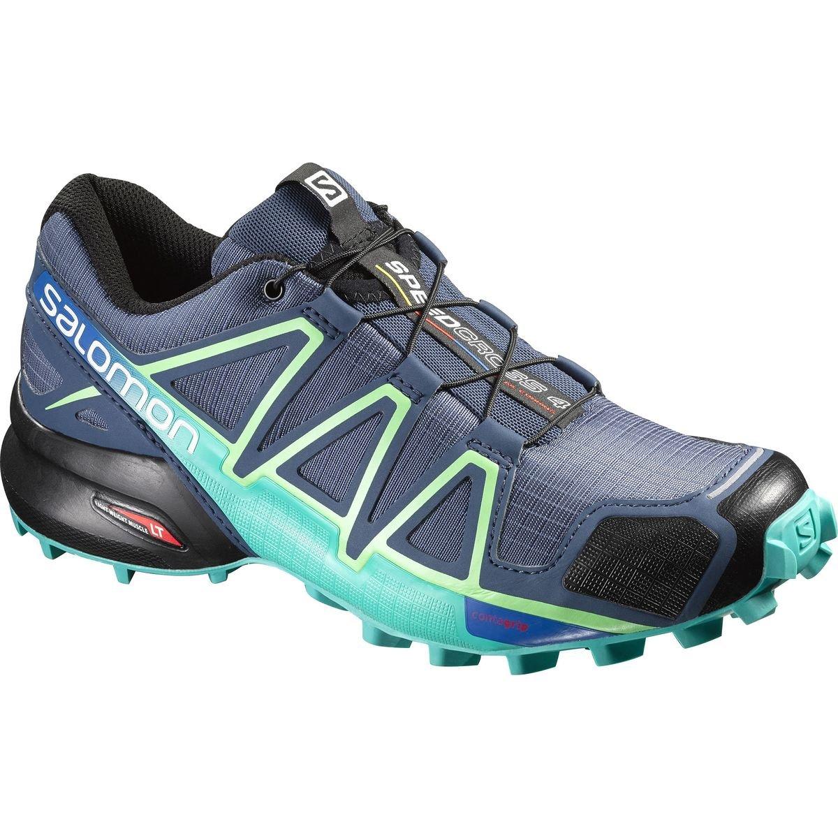 Salomon Speedcross 4 Trail-Running Shoes Women's (W7, Slate Blue/Blue/Fresh Green)