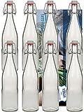 10 Bügelflaschen Glasflaschen 500ml Typ A mit Bügelverschluss zum Selbstbefüllen inklusive einem Einfülltrichter Durchmesser 5 cm Vitrea