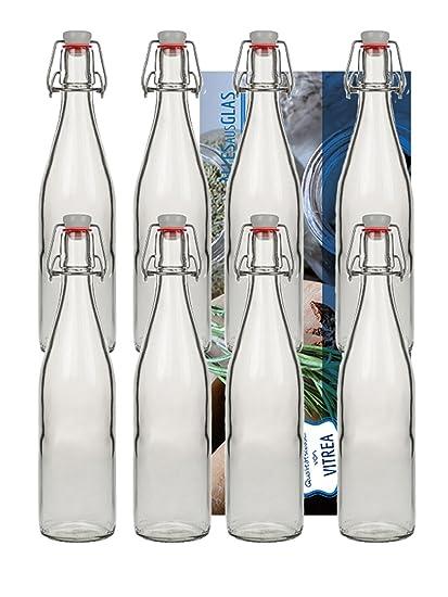 20 botellas de cristal (tipo A con cierre, 500 ml, rellenables, incluye
