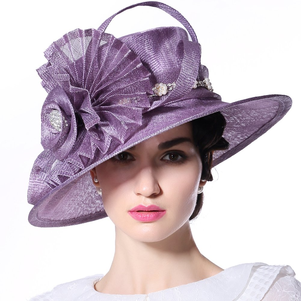 June's Young Women Hat Big Flower Summer Hat Sinamay Wide Brim(Purple) by June's Young (Image #1)