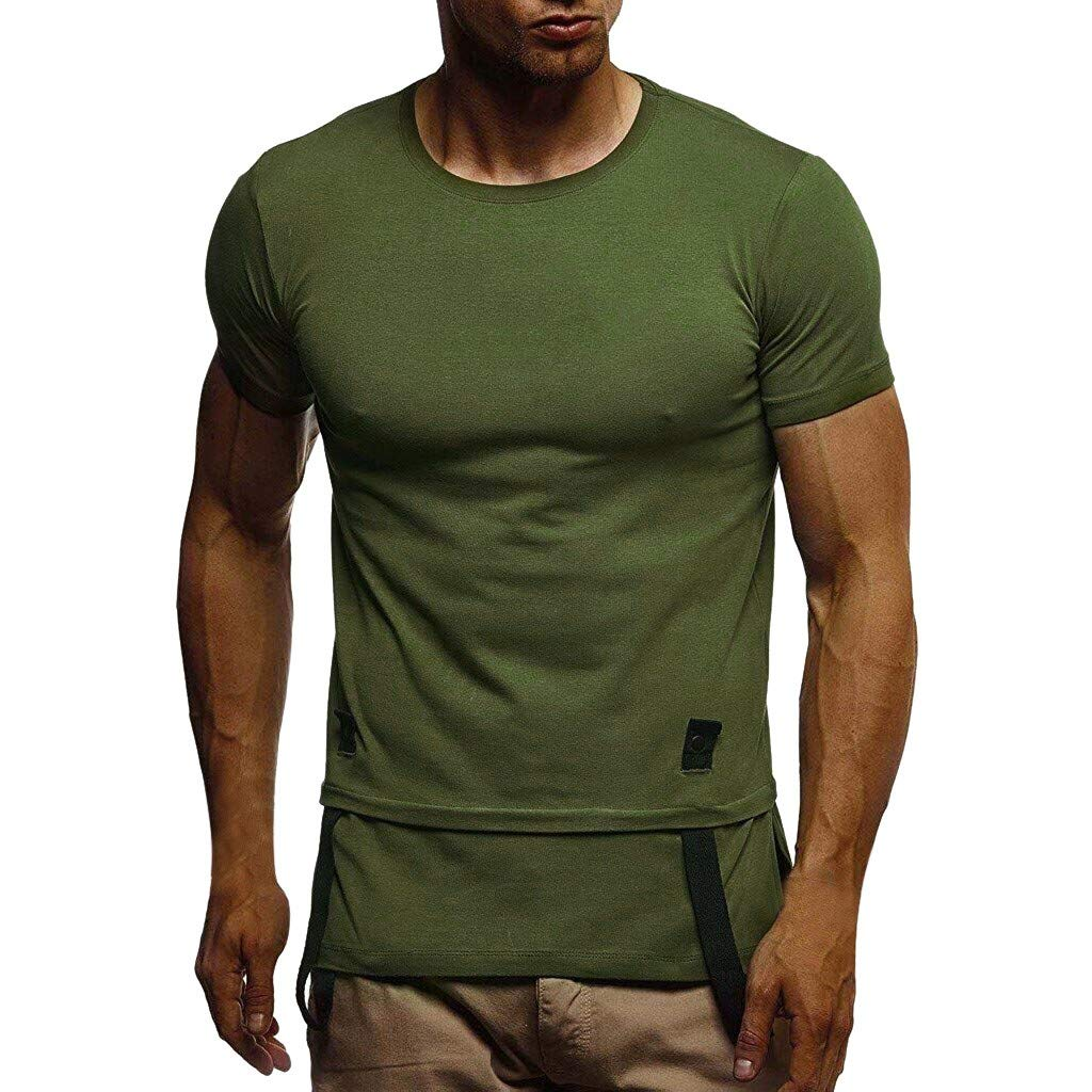 Men's T-Shirts Casual Slim Fit Short Sleeve Patchwork Crew Neck Shirt (L, Army Green)