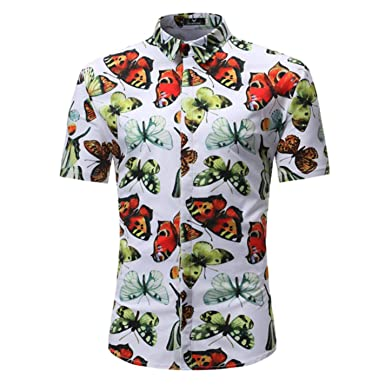 bde750bc Image Unavailable. Image not available for. Color: Men's Floral Butterfly Print  Hawaiian Shirt Summer Short Sleeve Beach Shirts
