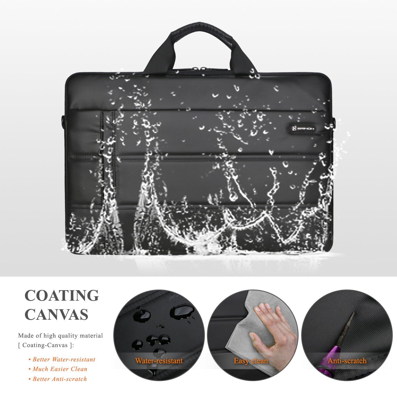 Laptop Messenger Bag 13.3 inch,BRINCH Waterproof Easy Clean Durable Business Laptop Bag Shoulder Bag Work Briefcase Sleeve Case Handbag for Men/Women,Fits 13-13.3'' Laptop/Notebook Computer,Black by BRINCH (Image #2)