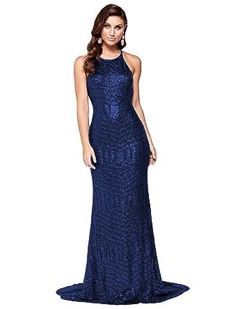 067cee4ba6d Dreambridal Women s Mermaid Party Dress Sequins Halter Evening Dress Maxi  Gown US2