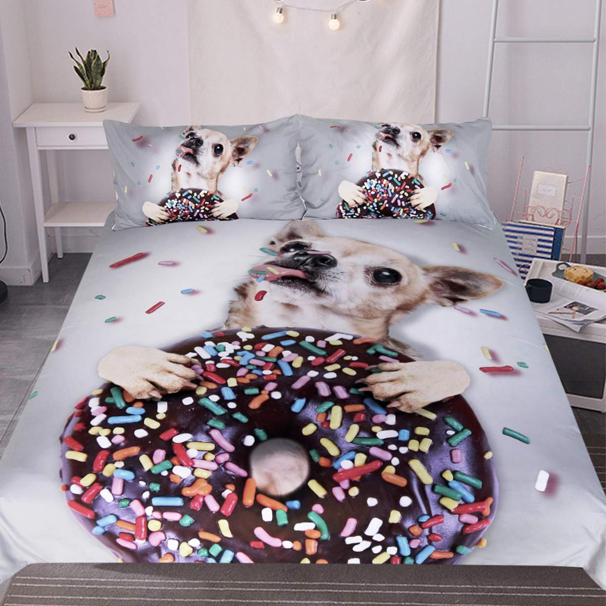 Dog Themed Bedding Sets.Sleepwish Dog Themed Bedding Sets Funny Chihuahua With Sprinkle Donut Duvet Cover 3 Pieces Kids Cartoon Animal Grey Bedspread Queen