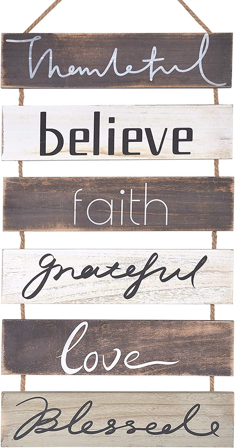 Soyo Hanging Wall Sign Rustic Wooden Wall Sign (Grateful, Love, Believe, Thankful, Faith, Blessed) Wood Wall Decoration for Home Decor