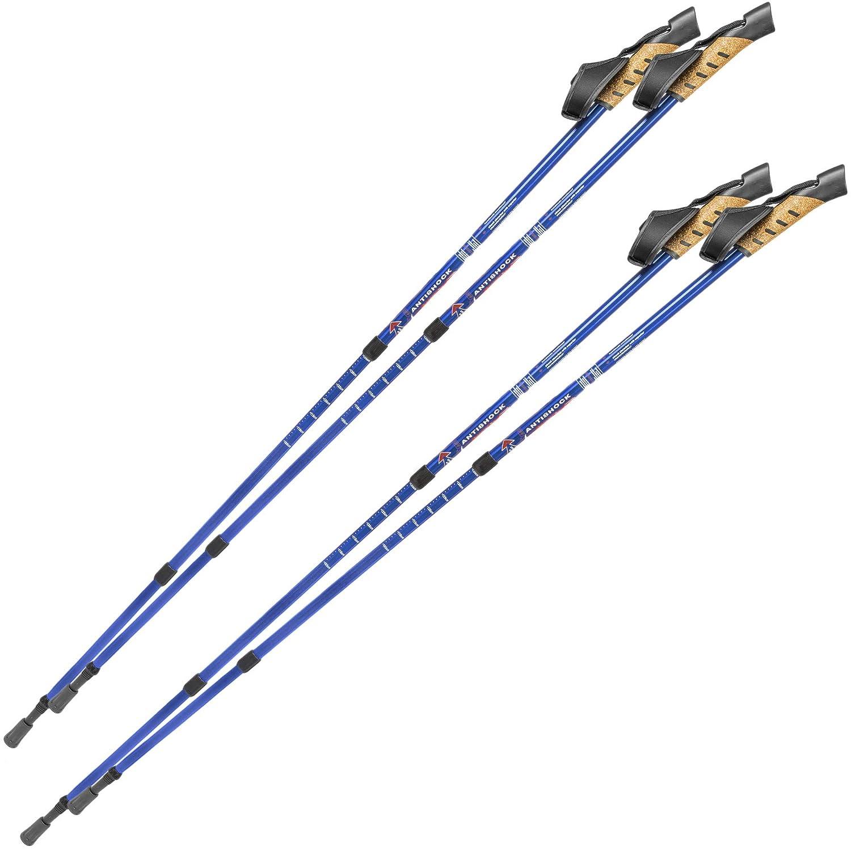 TecTake Bastón de marcha nórdica bastones de senderismo telescópicos con antishock - disponible en diferentes colores y varias cantidades - (2x Azul | No. 401980)