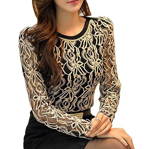 XKMON Mujeres Camisa de Encaje Floral Crochet Top Lace Shirt