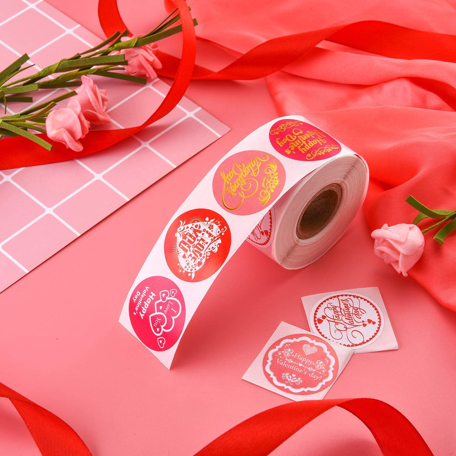 Thank You, 500 Pieces Thank You Seal Stickers Happy New Year Stickers Valentines Day Stickers Inspirational Quote Stickers Snowflake Label Stickers