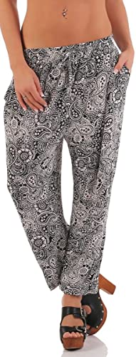 malito Pantalones Anchos Pantalón de Jogging en el Paisley Diseño XB-7718 Mujer (L/XL, negro)