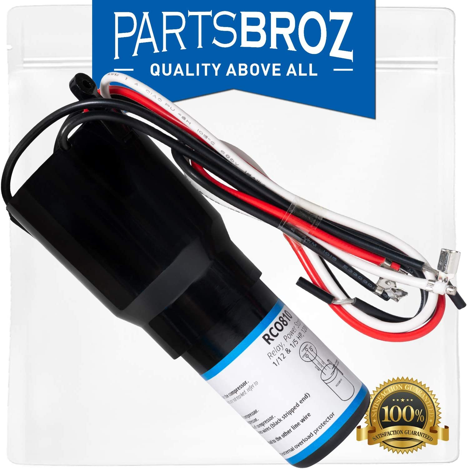 RCO810 3-in-1 Relay Combo Kit for Capillary Refrigeration Systems by PartsBroz - 1/12 to 1/5 HP - Replaces Parts Numbers TJ90RCO810, AP4503019, ERP810, HS8, HS810, RC0810 & RC100