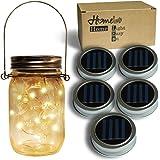 Homeleo 5-Pack Warm White Solar Mason Jar Lid Insert, Solar Powered LED Mason Jars Light Up Lid(Jars Hangers NOT Included)