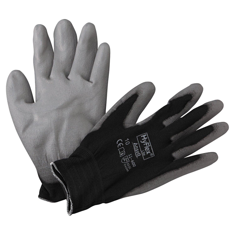 Ansell 11-600-10-BK HyFlex Lite Gloves, Size 10, Black/Gray (Pack of 12)