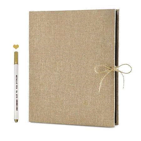 Scrapbook Fotos,Álbum de Fotos, Libro de visitas de Boda,con 60 páginas Negras 1pcs Color metálico Pluma para el Regalo de cumpleaños,Aniversario de ...