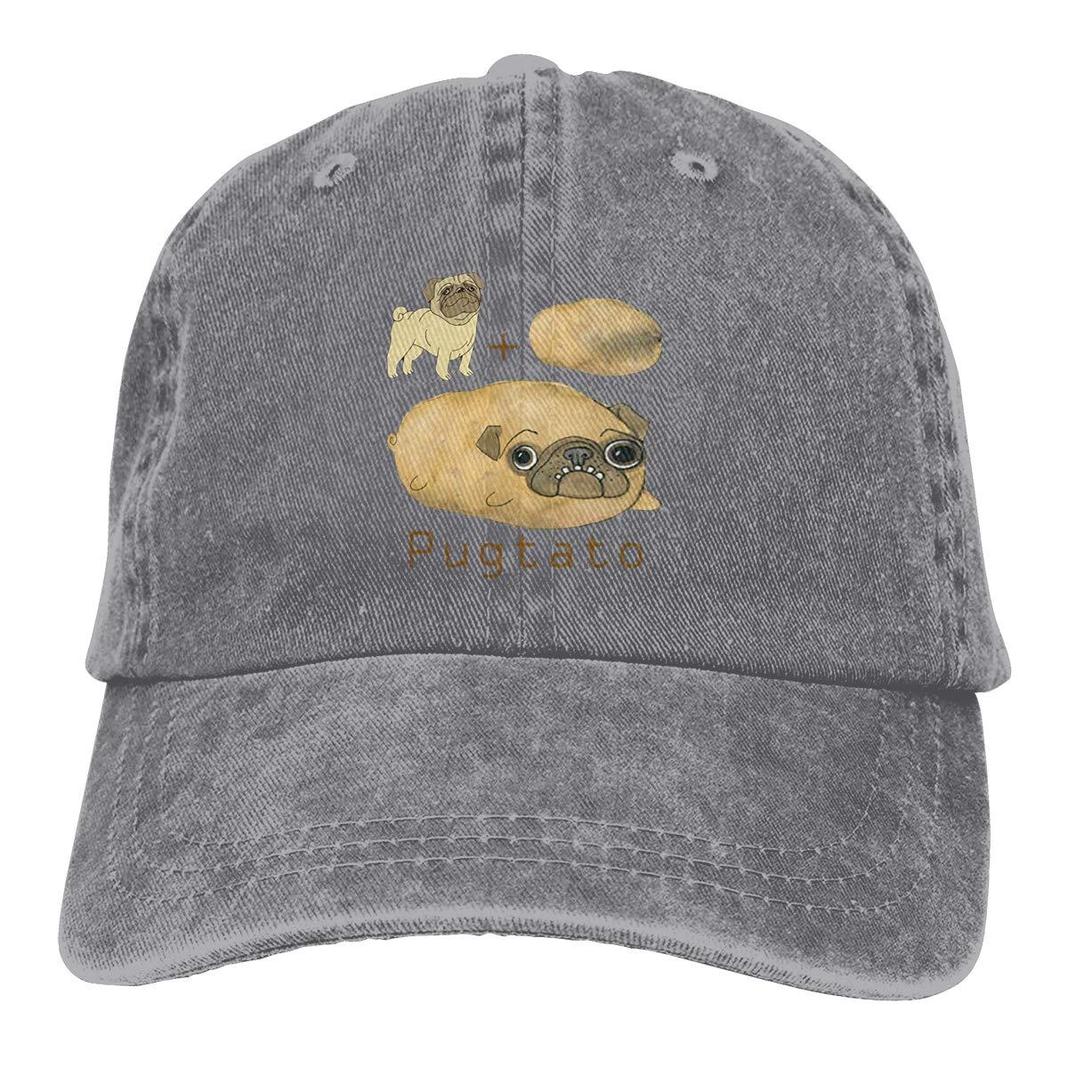 Qbeir Adult Unisex Cowboy Cap Adjustable Hat Pugtato Cotton Denim