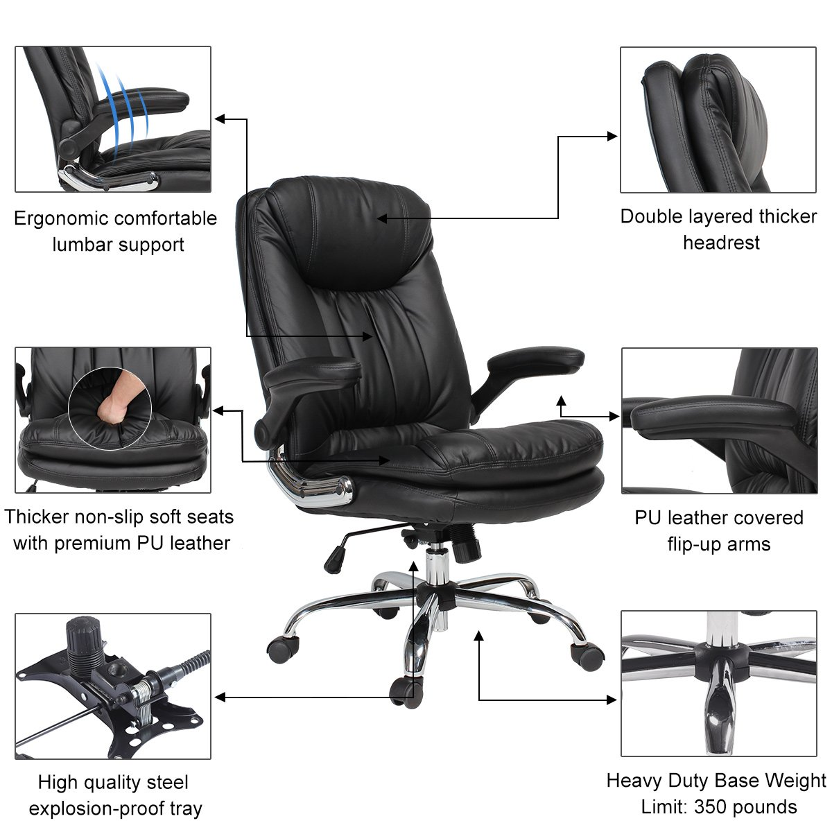 YAMASORO Ergonomic Home Office Chair with Flip-Up Arms and Comfy Headrest PU Leather High-Back Computer Desk Chair Big and Tall Capacity 330lbs Black by YAMASORO (Image #5)