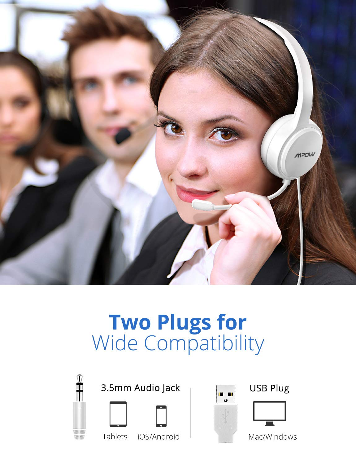 Skype Mpow 071-Upgraded Durability Version Lightweight Computer Headset with Noise Cancelling Microphone Phone Comfy Earmuffs USB Headset with 3.5mm Jack 7.87ft Wired Headphones for PC