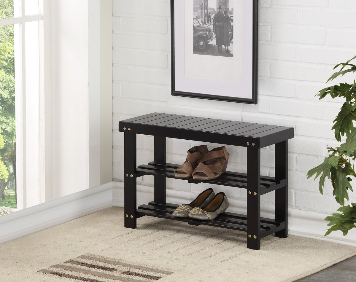 Black Finish Solid Wood Storage Entryway 2-tier Shoe Bench Shelf