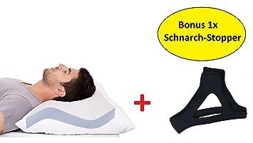 AGIA Tex Anti Schnarch Kissen + Schnarchband | Kopfkissen 40 X 80 Cm Mit