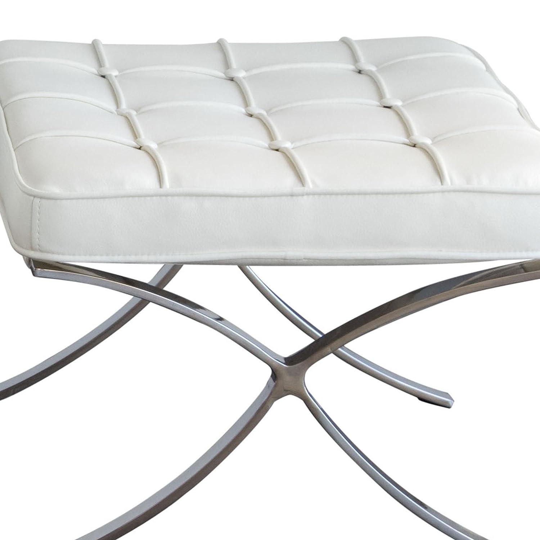 Amazon.com: Diamond Sofa Cordoba Tufted Ottoman in White ...