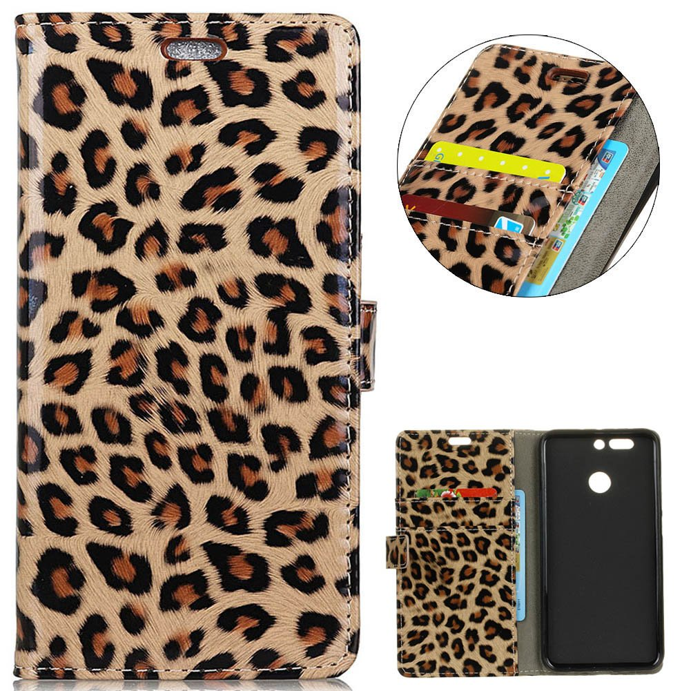 KM-WEN® Case for Honor 8 Pro (5.7 Inch) Book Style Leopard Pattern Magnetic Closure PU Leather Wallet Case Flip Cover Case Bag with Stand Function and Credit ID Card Slot Holder PRedective Case Cover for Honor 8 Pro (5.7 Inch) WSDE77863